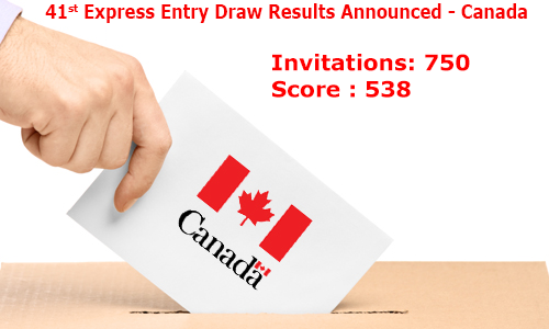 41st Canada Express Entry Draw - 750 Invitations Issued