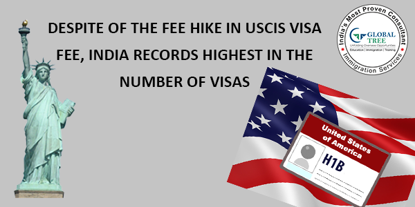 Despite of the fee hike in USCIS Visa fee, India records highest in the number of visas